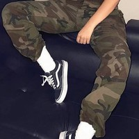 Army Green Camo Print Buttons Pockets Cargo High Waisted Casual Long Pants