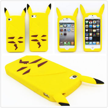 2015 New Style Anime Cartoon 3D Pocket Monsters Pokemon Pikachu Cute Silicone Back Cover Case For iPhone 4 4s 5 5s 6 6 plus