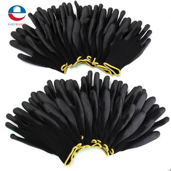 12 Pairs Black Nylon PU Safety Work Gloves Builders Grip For Palm Coating Gloves