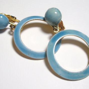 Vintage Blue Earrings clip on dangle circle ocean blue enamel