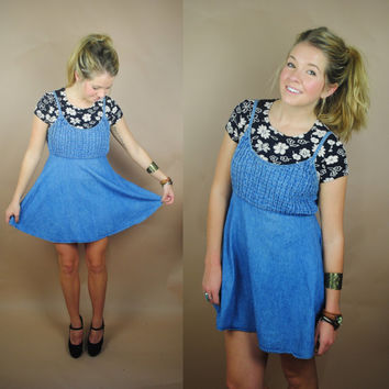 Vintage 1990s grunge denim ruched babydoll tent mini jumper dress
