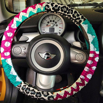 Cute chevron and cheetah print steering wheel cover
