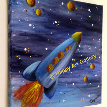 Rocket baby boy, Space nursery decor, Nursery Art outer space, Nursery Children's art spaceship, kids wall art, blue yellow orange red 12X12