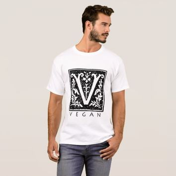 Vegan Gothic V Square Black and White Tshirt