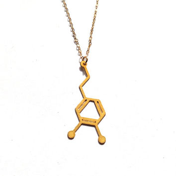 Dopamine Necklace Gold Scientific Jewelry Silver Chemistry Molecule Pendant Science Love Minimalist Necklace Beep Studio Icon Free Shipping