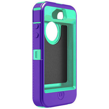 Defender Series Otterbox for the IPhone 4 and 4s - Purple - Teal Blue