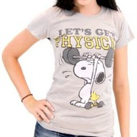 Peanuts Snoopy Let's Get Physical Heather Gray Juniors T-shirt  - Peanuts - | TV Store Online
