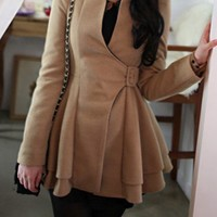 OASAP - Collarless Flounced Belted Coat - Street Fashion Store
