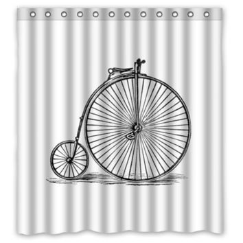 Memory Home Vintage Bicycle Art Bike Bathing Waterproof Bathroom Product Polyester Fabric Shower Curtain White