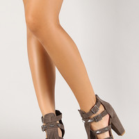 Strappy Fringe Studded Open Toe Heel