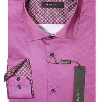 Envy Men's Long Sleeve Fashion Dress Shirt 1011 Fuchsia/Blue
