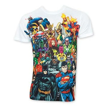 DC Comics Men's Sublimated White Superheroes Tee Shirt