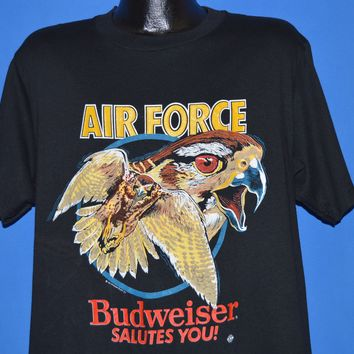 80s Air Force Budweiser Beer Salutes You! t-shirt Large