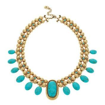 Lauren Ralph Lauren Turquoise Beaded Collar Necklace