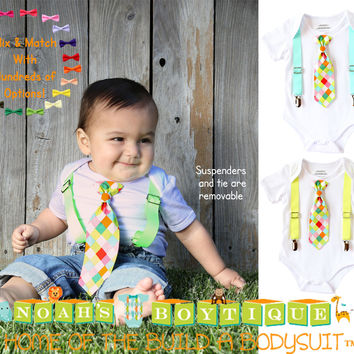 Baby Boy Clothes - Baby Boy Shirts - Neon Tie - Hipster - Toddler - Summer Clothes - Cute Outfit for Boy - Tie and Suspenders - Boy Clothes