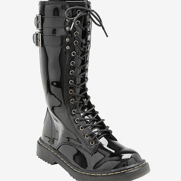 Double Buckle Shiny PU Tall Combat Boots