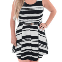 Plus Size Striped Gold Buckle Skater Dress, Plus Size Clothing, Club Wear, Dresses, Tops, Sexy Trendy Plus Size Women Clothes
