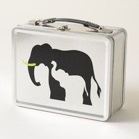 Black and White Elephants Metal Lunch Box