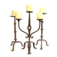 Antique Primitive Wrought Iron Candelabra Hand Forged Gothic Rustic Pricket Candelabra Farmhouse Decor Lighting Colonial New England