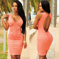 Peach Lace Ruched Key-Hole Back Bodycon Dress