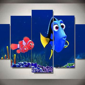 Children's Oil Painting on Canvas Wall Art:  Dory & Nemo, Winnie the Pooh and Aladdin Free shipping