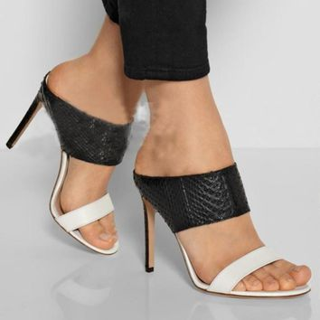 High Heels Sandals Sexy Thin Heels Slippers Black White Snake Leather Shoes Woman Open Toe Summer Sandalias Mujer Slides C243