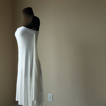 Wedding Dress Elegant Simple Strapless Minimal Bridal Gown Boho Handmade One of a Kind Zen Bride