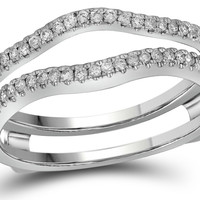 14kt White Gold Womens Round Natural Diamond Ring Guard Wrap Solitaire Enhancer Band 1/4 Cttw