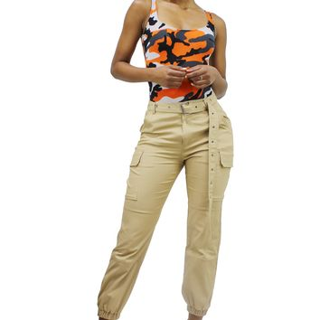 Style Crush Over Sized Long Belt High Waist Cargo Jogger Pants