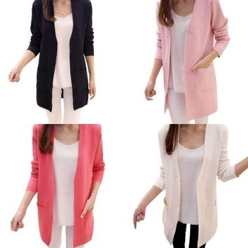 Summer Women's Casual Long Sleeve Cardigan Knitted Thin Sweater Coat Outwear New