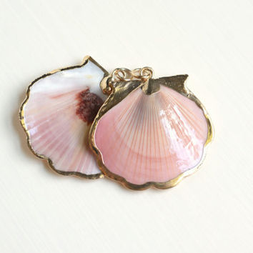 Seashell Jewelry - Red Pink Scallop Shell Pendant with Gold Trim - Beach Wedding - Supplies