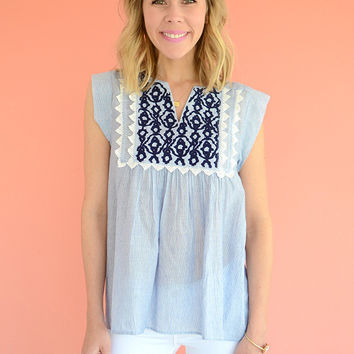 Hartley Blue Embroidered Peasant Top by THML Clothing