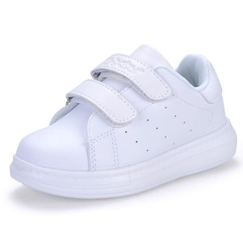 Kids White Leather Sneakers Leather