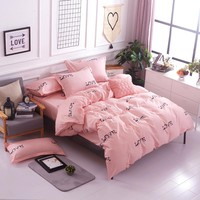 comforter set love you style of king queen Singl size 4pc / 3pc bedding sets bedclothes quilt cover bed sheet pillowcases
