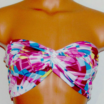 Bandeau bikini Top, Spandex Swimsuit top, Beach Delight, Super Cool. Kaleidoscope 4 way stretch, A blend of Pink, Teal, Yellow and White