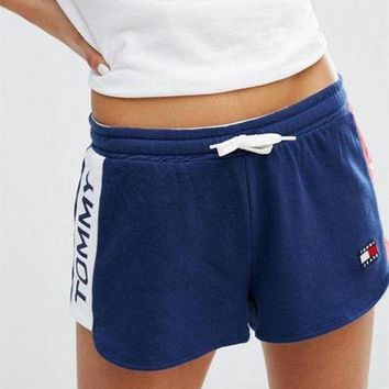 Tommy Hilfiger Fashion Women Print Casual Drawstring Sports Shorts Blue I