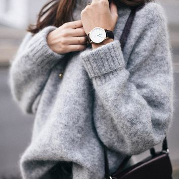 Winter fashion solid pullovers sweatshirts