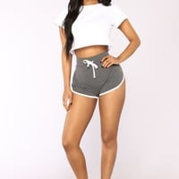 Fit And Fab Active Shorts - Charcoal/White