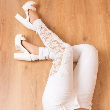 White Women Lace Splicing Denim Skinny Pants Stretch Jeans Slim Pencil Trousers