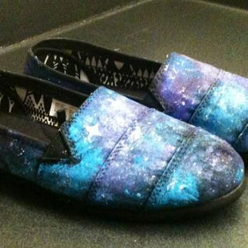 Galaxy Shoes Toms Style Vans Galaxy Clothings Painted Toms Hand Painted Shoes Custom S