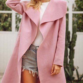 Woolen Dreams Long Sleeve Wool Blend Oversized Lapels Belted Knee Length Coat Outerwear - 3 Colors Available