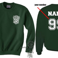 Custom back Slytherin Crest #2 WHITE print on Forest green Crew neck Sweatshirt