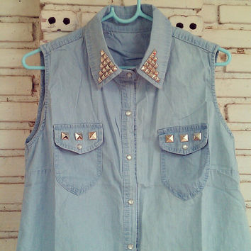 DIY Studded Denim Shirt No.880049