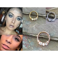 Silver, Gold or Rose Gold 3 Clear Crystal Daith, Tragus, Septum or Rook Hoop