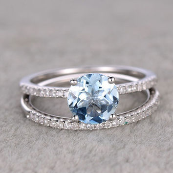 Round Aquamarine Bridal Ring Set Diamond Wedding Band White Gold Thin Stacking Matching 14k/18k