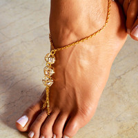 "Women Barefoot Sandal ""Diamonts are forever"", soleless sandals, boho jewelry, boho sandals, ankle jewelry, foot jewelry"