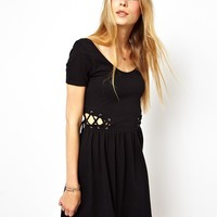 ASOS | ASOS Skater Dress With Lace Up Sides at ASOS