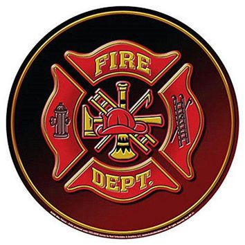 Fire Department Dept Fireman Hat Emblem Round Tin Sign 12 x 12in