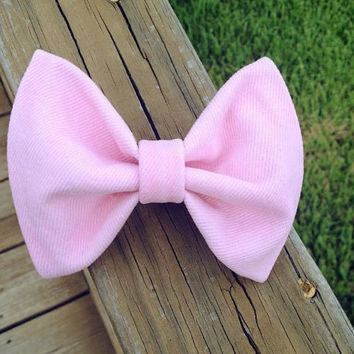Pink Denim Hair Bow by DenimAndStuds on Etsy