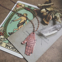 palmistry necklace • palm reading hand pendant - occult jewelry - witch necklace - fortune teller necklace - palm reader pendant